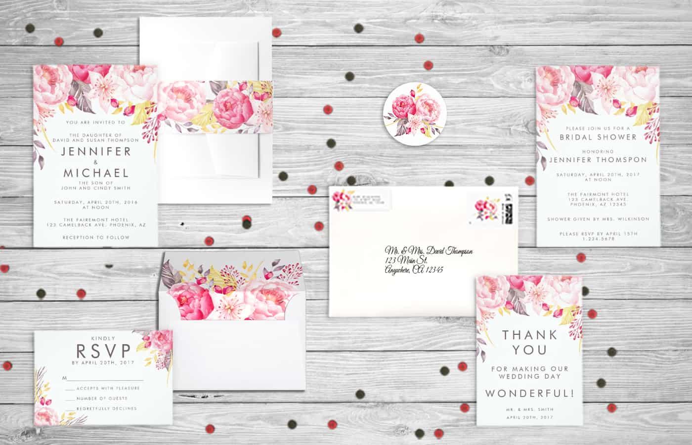 A New Zazzle Wedding Invitation Collection - Pink Peony Watercolor - Eyestigmatic Design