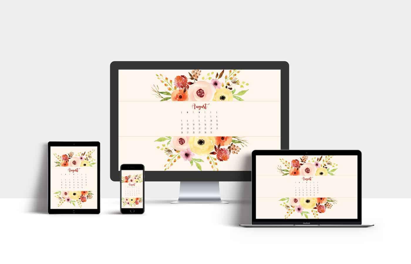 Calendar Clock Wallpaper : Free august 2018 calendar wallpaper instant download