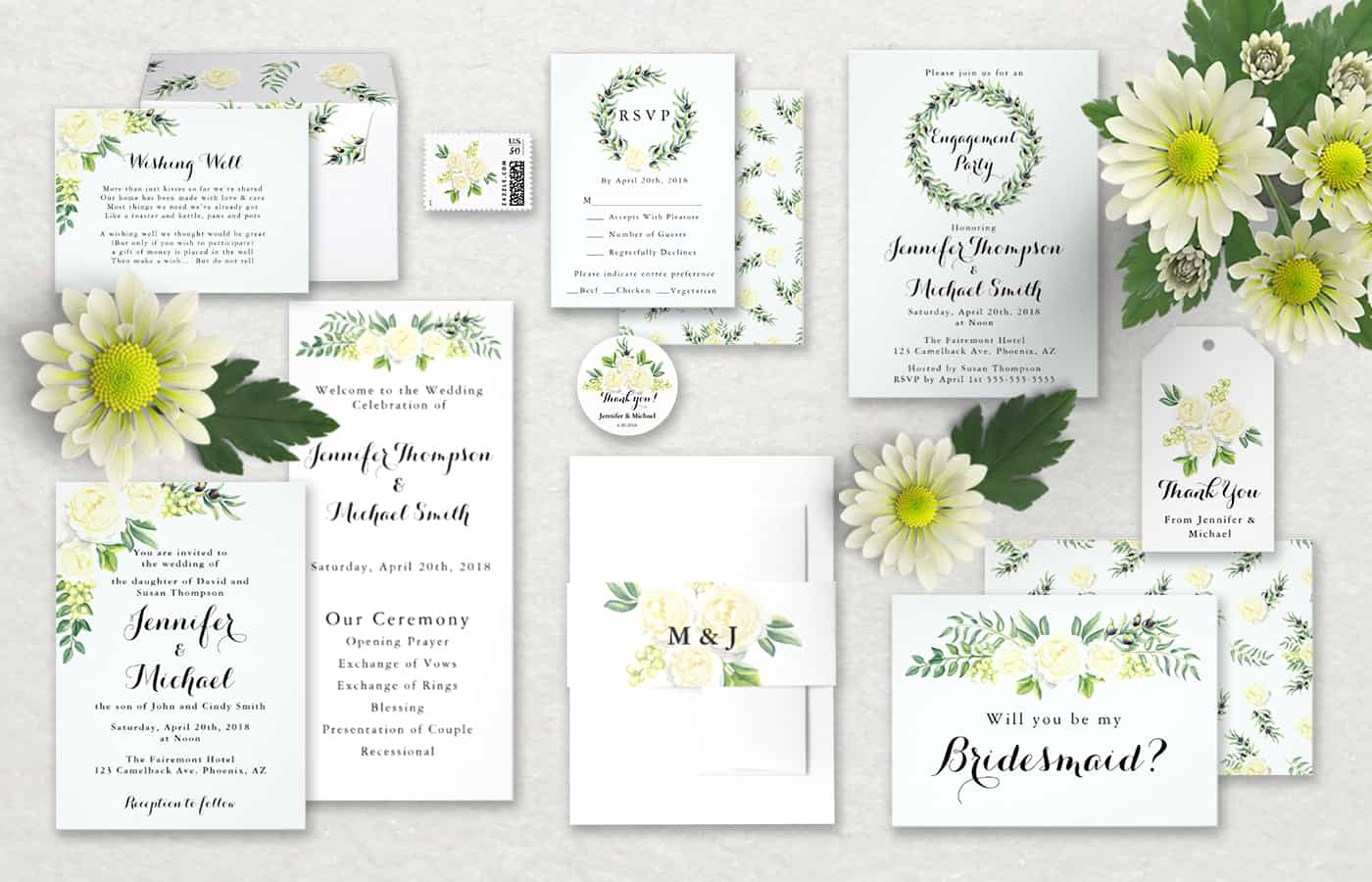 Zazzle Wedding Invitations for Summer- White Roses & Green Leaves ...